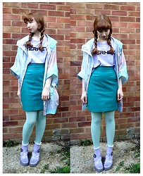 Emily May - Monki Multi Coloured Pastel Mac, Monki Internetz Lilac Tee, Cow Vintage Turquoise Leather Skirt, New Look Aqua Tights, Topshop Lilac Frilly Socks, Juju Glitter Jelly Shoes - Pastel Mac