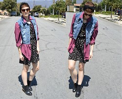 Bethany R. - Denim Vest, Red Plaid Shirt, Butterfly/Hearts Dress, Dr. Martens Eloise - Ready Freddy