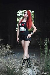 Nat Lady-Redstone - Serial Drummer Tank Top Sd, Pull & Bear Spikes Short, None Leather Boots - Metal Girl Inside