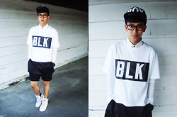 Joseff Lopez (Seffinisto) - Boy London Cap, Stereo Oversized Blk Hstory Top With Zip Up Details, H&M Rolled Up Black Shorts, Adidas White High Top Sneakers - B O Y