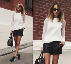 Silvia P. - Zara Blouse, H&M Shorts, Ray Ban Sunnies, Dkny Bag, Nike Sneakers - Back to school