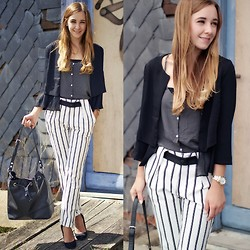Clean Couture Lu - Zara Pants, Zara Bag, H&M Blazer, Zara Top - Black and white striped pants