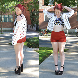 Emily Hughes - Go Jane Crop Top, Topshop Shoes, Forever 21 Shorts, Catherine Malandrino Jacket - Round 2 Daisies