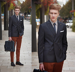 Zoltán Szilágyi - Massimo Dutti Silk Knit Tie, Zara Paisley Print Shirt, Zara Jacquard Blazer, Massimo Dutti Structured Chinos, Zara Saffiano Briefcase, Zara Socks, Massimo Dutti Tasseled Moccasins, Eyki Skeleton Watch - Precious