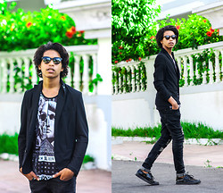 Simo Rguib - Zerouv Eyewear, Zara Blazers, New Yorker T Shirts, Sammydress Jeans, Zealotries Crepers - Stay high