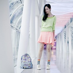 Ren Rong - Mango Stiped Sweater, Juicy Couture Candy Pop Cheetah Jacquard Skirt, Sammy Icon Chamanes Socks, Cotton On Lace Ups - Tubular