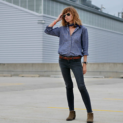 Natalia T - Madewell Denim Shirt, James Grey Skinny Jeans - Workers shirt