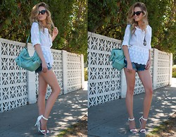 Linda Lind - Guess? Top, Guess? Shorts, Balenciaga Bag, Calypso St Barth Necklace, Steve Madden Heels - Hello September