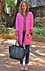 Nikki S - Céline Bag, Zara Coat - Pink and Paisley