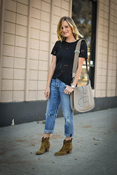 Audrey B. - Iro Shirt, Hermës Bag, Citizens Of Humanity Jeans, Aerin Booties - Denim Days