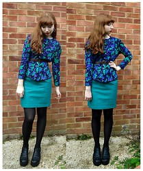 Emily May - Beyond Retro Floral Peplum Blouse, Cow Vintage Turquoise Leather Skirt, New Look Black Chunky Sandals - Eighties Peplum