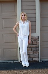 Nava J - Chelsea 28 White Blouse, Alice And Olivia Wide Leg Pants, Qupid White Lace Ups - Pearl Hunting