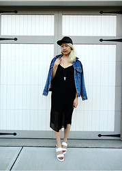 Likkie Xiong - Asos Slip Dress, Asos Hat Trick Sandals, Asos Faux Leather Cap, Levi's® Jean Jacket - LATELY IN THE FUTURE-PAST