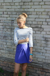 Arina Zabelina - Asos Синий юбка, Zara Striped T Shirt - Blue...