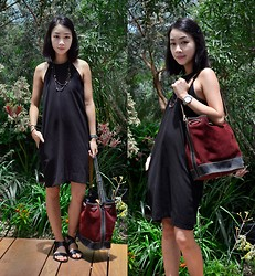 Faith Png - Sol Sana Black Leather Sandals, Vintage Bucket Bag - Avery