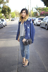 Yuka I. - Missguided Denim Jacket, Project Social T Stripe Tee, Theory Bag, All Saints Boyfriend Jeans, Alexander Wang Heels - Downtown denim