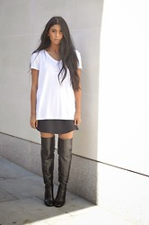 Monikh Dale - Topshop Knee High Boots, Topshop White Tshirt, Topshop Navy Silk Skirt - Knee High's
