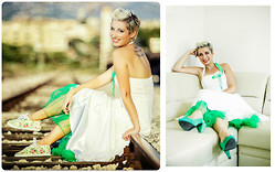 Miss Dee STyle - Vintage Inspired Wedding Dress, H&M Green Summer Heels, Startas, Croatia Flower Printed Sneakers - My second wedding anniversary :) !!!