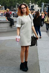 Albertine Brandon - Forever 21 Necklace, Verity Anne Dress, Thrifted Bag, Clarks Boots - Verity Anne