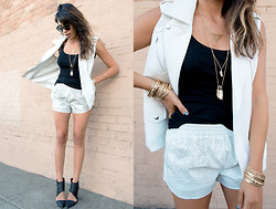 Francesca Felix - Forever 21 White Vest, Blank Nyc Leather Shorts, Forever 21 Jewelry, Jeffrey Campbell Black Booties - White after Labor Day