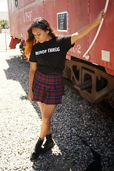 Alexis Fabiola - Hot Topic Minor Threat Tee, American Apparel Tennis Skirt, Dr. Martens Boots - Seeing Red