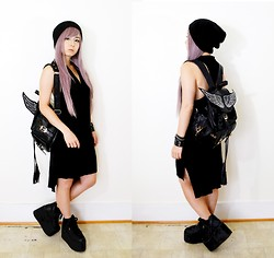 Lovely Blasphemy - Lockshop Silky Straight   Lilac Mix, H&M Dress, Dolls Kill Angel Of Mine Backpack, Yru Qozmo   Black - Wings