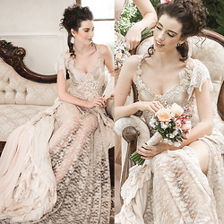 Elle-May Leckenby - Judy Copley Lace And Beaded Detail Romantic Gown - 1801 ~ A garden party