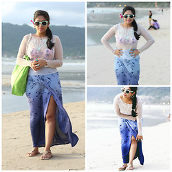 Surbhi Suri - Bandra Mumbai Sheer Blouse, Wrap Floral Skirt, Westside Thong Sandals, H&M Pastel Sunnies, Tote Bag - Bikini Cover ups