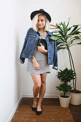 Doris Dave - Oasap Hat, Thrifted Denim Jacket, Zara Dress - BREATHE
