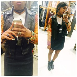 Krystina Jackson - Missguided Black Ankle Boots, Urban Outfitters Dress, Urban Outfitters Grey Tee - Leather Addiction