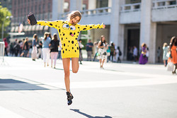 Sonya Esman - Moschino Spongebob Sweater, Balenciaga Boots, Chanel Wallet On Chain - Nyfw day one.