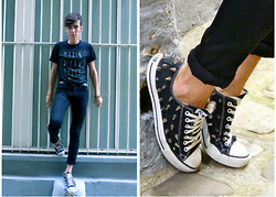 Dylan Valente - Converse Diy Studded Shoes - Black