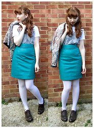 Emily May - Veronica Falls Tee, My Mum's Patterned 80s Jacket, Cow Vintage Turquoise Leather Skirt, American Apparel White Tights, Clarks Brown & Green Suede Brogues - Brown Brogues
