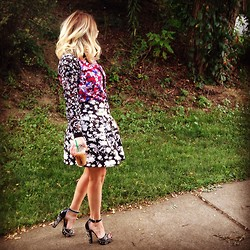Kimmi Miao - Topshop Floral Full Skirt, Prada Open Toed, Target Floral Blouse - Garden party