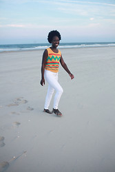 Tipa Tipa - Vintage Vest, American Apparel Jeans - White Pants After Labor Day