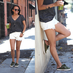 Courtney Y - Urban Outfitters Project Social T, Angl White Lace Jeans, Superga X Man Repeller Sneakers - Social Tee