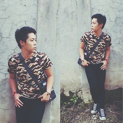 Carlos Liao - Converse High Cut Chucks, Camouflage Shirt - Camouflage