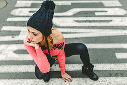 Giuliana ♡ - American Apparel Latex Leggings, Cartier Love Bangle, Moixx Chullo, Lola Shoes Black Sneakers - Soul Sista