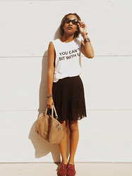 KENYA Sherron - Blq Basiq White Cotton Graphic Tank, Forever 21 Black Sheer Pleated Skirt, Target Burgundy Oxfords, Steve Madden Olive Satchel Handbag, Bcbg Black Cateye Shades - Can't sit with me.