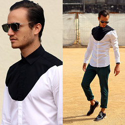 I N F A S H I O N I T Y a style story - Neil Barrett Graphic Shirt, J Lindeberg Black Glossy Derbies - GRAPHIC BLOCKING