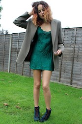 Albertine Brandon - Thrifted Jacket, Thrifted Slip, Clarks Boots - Emerald slip