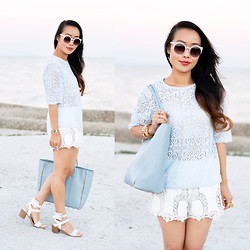 Toshiko S. - Zerouv Sunglasses, Just For £5 Lace Top, Forever 21 Embroidered Crochet Leather Shorts, Lauren Merkin Reese Tote, Alloy Apparel Perforated Strappy Sandals - Daisy Dream