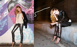 Linda Lind - 7 For All Mankind Sequin Pants, Joie Top, Jeffrey Campbell Heels, Helmut Lang Jacket - Night Owl