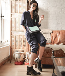 Elle-May Leckenby - Charles Keith Two Tone Sling Bag, Charles And Keith Chealsea Boots, Navy Jumpsuit - Around town