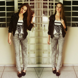 Juliana Fachini - Choies Bomber Jacket, Choies Triangle Top, Acid Reign Wash Pants - Time Of Your Life