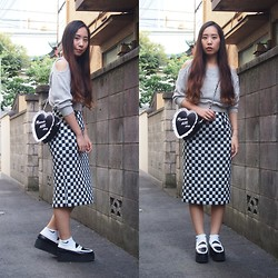 Yu Kuwabara - G.V.G.V. Off Shoulder Sweat Top, G.V.G.V. Cushion Heart Bag, G.V.G.V. Checkered Pensil Skirt, Nike Short Socks, J.W.Anderson Platform Moccasins - Checkers