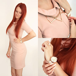 Anna Berezowska - Aggi Dress, Otien Necklace, Otien Watch, Otien Ring - 13/09/14 Pastel Pink Dress and gold accessories