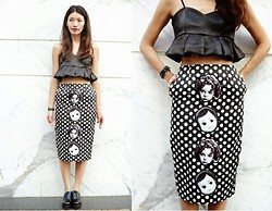 Flavia White - Annakiki Pencil Skirt With Polka Dot & Heads, Annakiki Ruffles Bra Tops - My Goth Baby