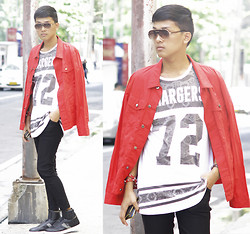 Nino Calimag - Oxygen Red Jacket, Cotton On Shirt, Forever 21 Pants, Charles & Keith Sunnies - #amaganster