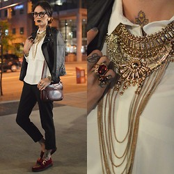 Shaughnessy Keely - Platoy Pearl Embellished Cat Eye Frames, Used House Of Vintage Refurbished Moto, Oak White Blouse, Gucci Vintage Purse, Topshop Gold Jewelry - VFW DAY 1